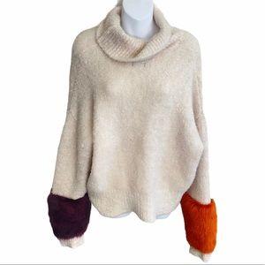 Zara Knit Cream Turtleneck Faux Fur Sleeve Sweater